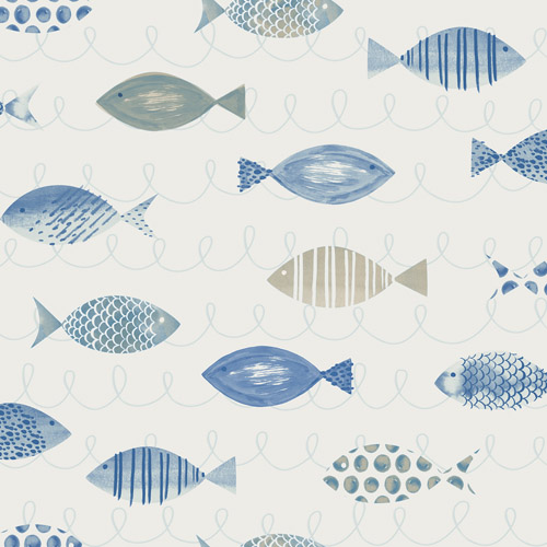 3113-12043 Brewster Wallcoverings Chesapeake Seaside Living Key West Fish Wallpaper Blue