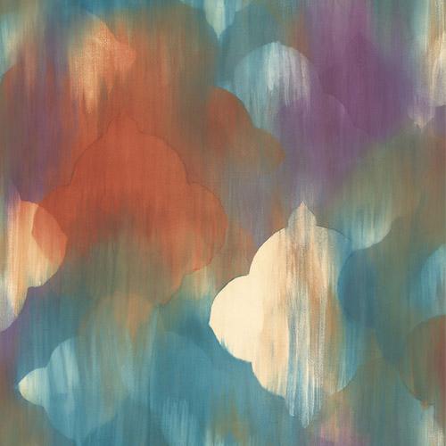 AH40301 Seabrook Wallcoverings L'Atelier de Paris Watercolor Ogee Medallion Wallpaper Spice