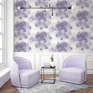 Seabrook Wallcoverings L'Atelier de Paris Watercolor Sunflower Wallpaper Room Setting