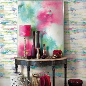 Seabrook Wallcoverings L'Atelier de Paris Watercolor Brushstrokes Wallpaper Room Setting