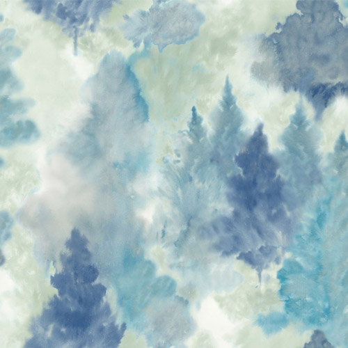 AH41202 Seabrook Wallcoverings L'Atelier de Paris Watercolor Trees Wallpaper Blue