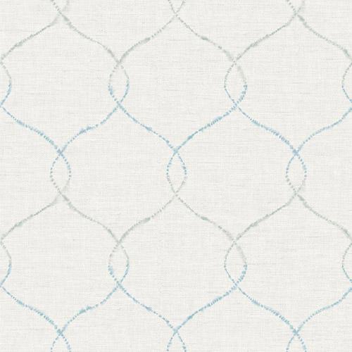 AH41602 Seabrook Wallcoverings L'Atelier de Paris Ogee Trellis Wallpaper Blue