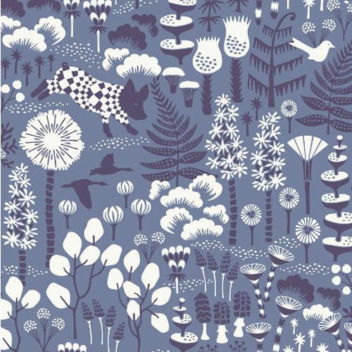 WV1453 Brewster Wallcoverings Hanna Werning Wonderland Hoppet Folk Wallpaper Blue