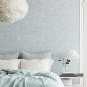 Brewster Wallcoverings Scandinavian Designers 2 Folk Poem D'Amour Wallpaper Room Setting