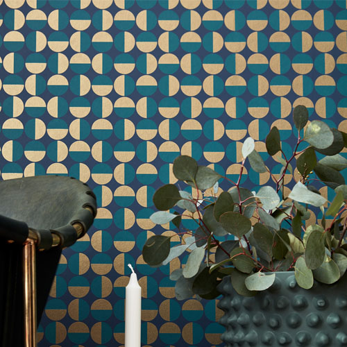 Brewster Wallcoverings Scandinavian Designers 2 Geometric Vertigo Wallpaper Room Setting Closeup