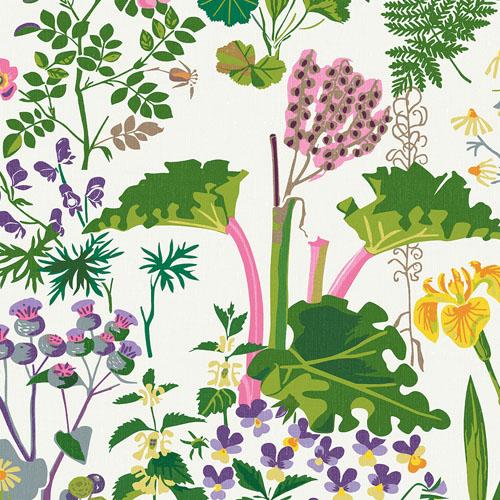 WV1792 Brewster Wallcoverings Scandinavian Designers 2 Floral Rabarber Wallpaper Taupe