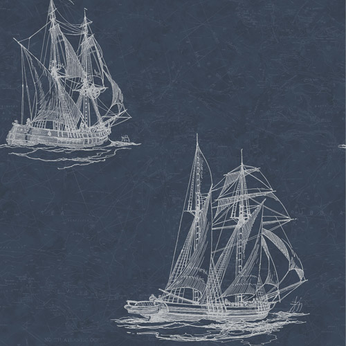 3114-003338 Brewster Wallcoverings Chesapeake Manhattan Club Hudson Bay Wallpaper Navy