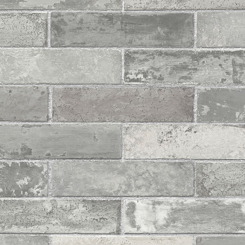 LL29533 Patton Wallcoverings Norwall Illusions 2 Rustic Brick Wallpaper Gray