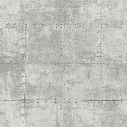 LL36226 Patton Wallcoverings Norwall Illusions 2 Rustic Tin Wallpaper Gray