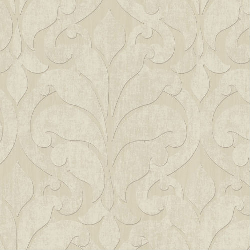 376000 Brewster Wallcovering Eijffinger Siroc Damask Vallon Wallpaper Beige