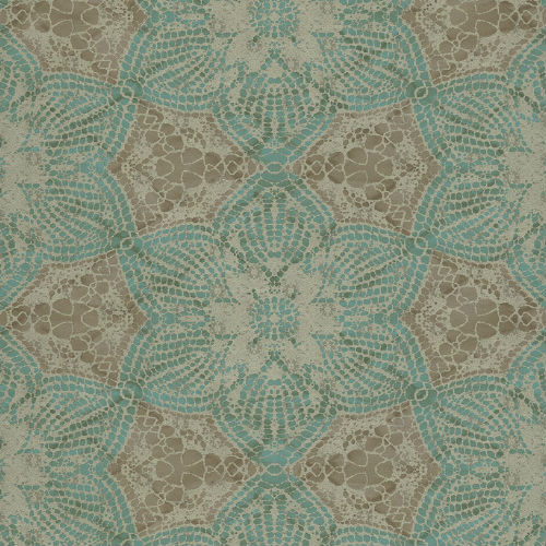 376052 Brewster Wallcovering Eijffinger Siroc Medallion Seychelles Wallpaper Teal