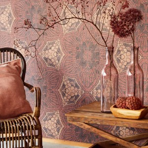 Brewster Wallcoverings Eijffinger Siroc Boho Flower Mural Terra Room Setting