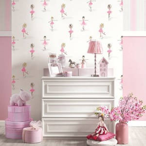 Seabrook Wallcoverings Playdate Adventure Ballerina Wallpaper Room Setting