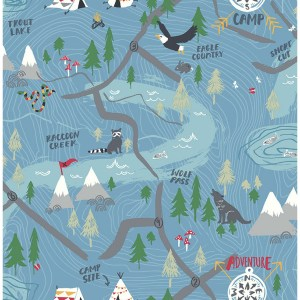 FA41902 Seabrook Wallcoverings Playdate Adventure Campground Wallpaper Blue