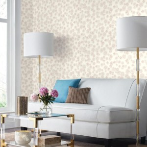 York Wallcoverings Ashford Whites Posey Wallpaper Room Setting
