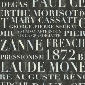 FI70302 Seabrook Wallcoverings French Impressionist Signet Script Wallpaper Black