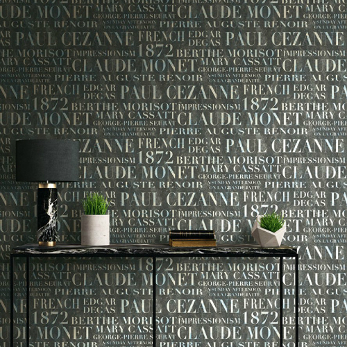 Seabrook Wallcoverings French Impressionist Signet Script Wallpaper Room Setting