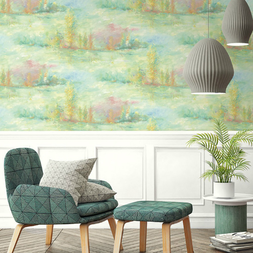 Seabrook Wallcoverings French Impressionist Tree Line Wallpaper Room Setting