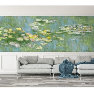 Seabrook Wallcoverings French Impressionist Water Color Lilies Mural Room Setting