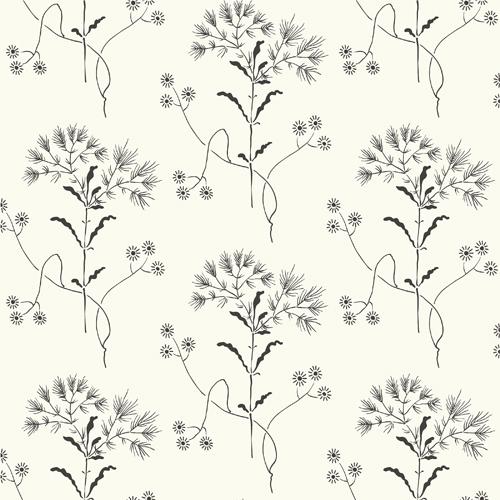 ME1515 York Wallcoverings Joanna Gaines Magnolia Home 2 Wildflower Wallpaper Black