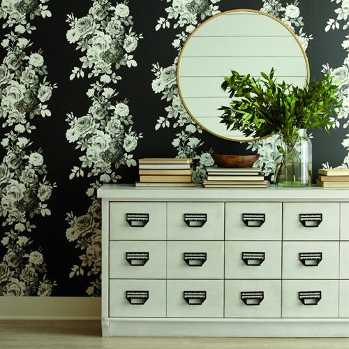ME1533 York Wallcoverings Joanna Gaines Magnolia Home 2 Tea Rose Wallpaper Room Setting