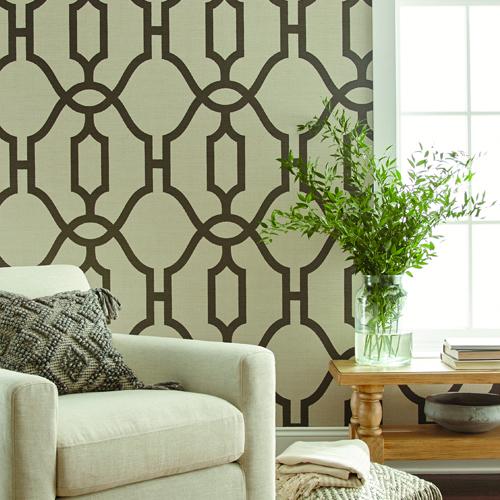 ME1551 York Wallcovering Joanna Gaines Magnolia Home 2 Woven Trellis Wallpaper Room Setting