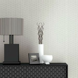 Seabrook Wallcoverings Texture Anthology Etten Geometric Wallpaper Room Setting