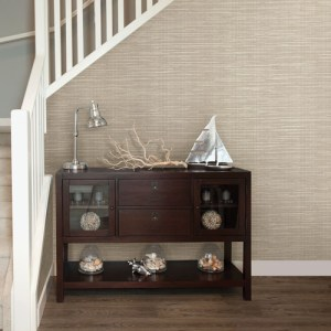 Brewster Wallcovering Warner Textures and Weaves Bay Ridge Faux Grasscloth Wallpaper Room Setting
