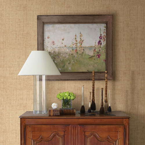 Brewster Wallcoverings Warner Textures and Weaves Caviar Basketweave Wallpaper Room Setting
