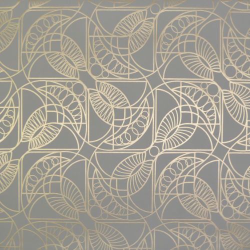 NW3525 York Wallcovering Antonina Vella Modern Metals Cartouche Wallpaper Dove Gray