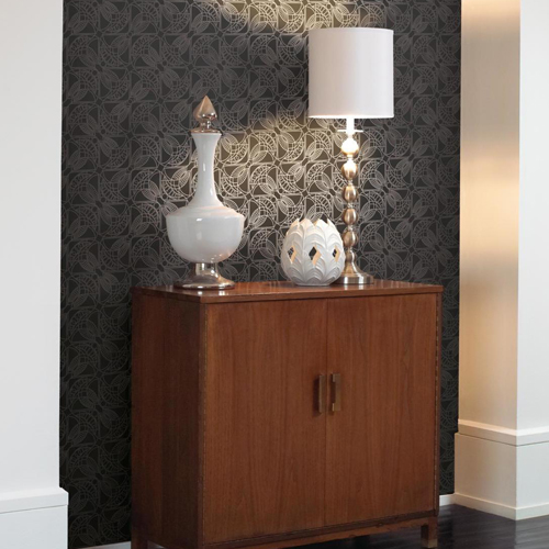 York Wallcovering Antonina Vella Modern Metals Cartouche Wallpaper Room Setting