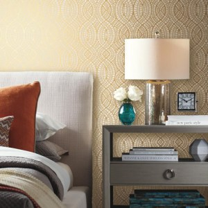 York Wallcovering Antonina Vella Modern Metals Tortoise Wallpaper Room Setting