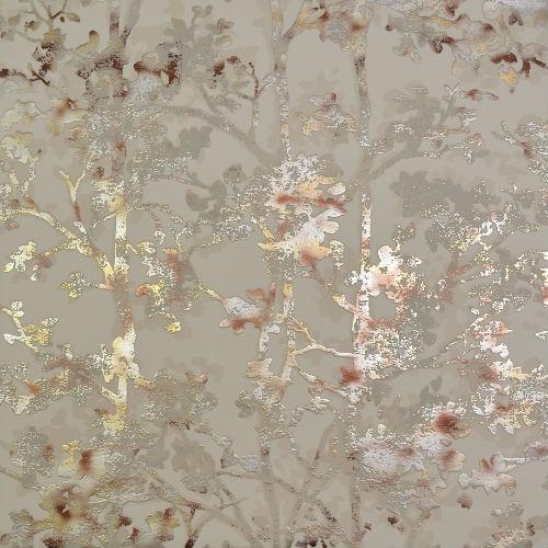 NW3584 York Wallcovering Antonina Vella Modern Metals Simmering Foliage Wallpaper Beige