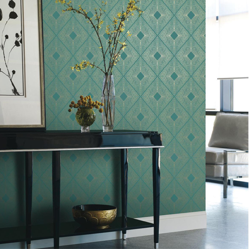 Harlowe Wallpaper Antonina Vella Modern Metals Lelands