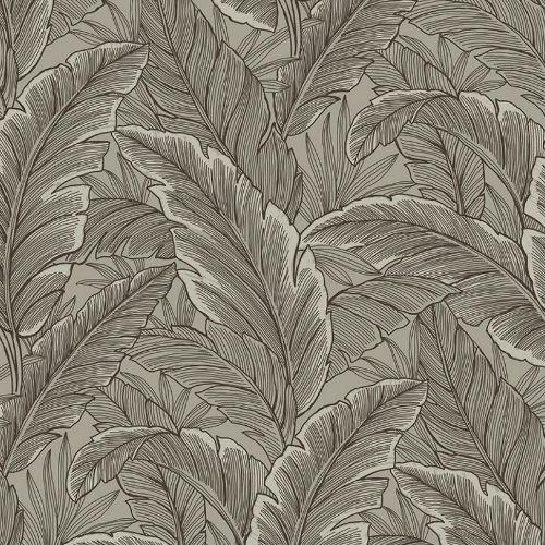 UK10018 Seabrook Wallcoverings Pear Tree Studios Mica Ruffled Palm Wallpaper Gray