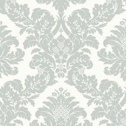 UK10432 Seabrook Wallcoverings Pear Tree Studios Mica Raised Glitter Damask Wallpaper Silver
