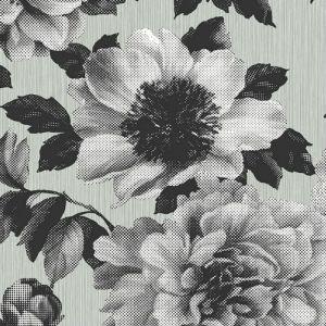 UK11100 Seabrook Wallcoverings Pear Tree Studios Mica Half Tone Floral Wallpaper Black
