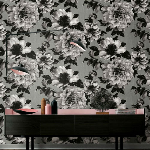 Seabrook Wallcoverings Pear Tree Studios Mica Half Tone Floral Wallpaper Room Setting