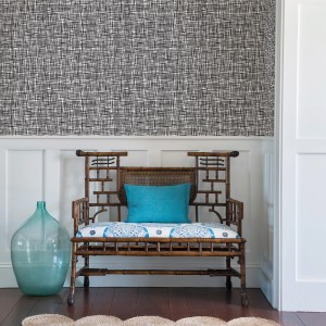 2764-24301 Brewster Wallcovering Mistral Shanti Grid Wallpaper Room Setting