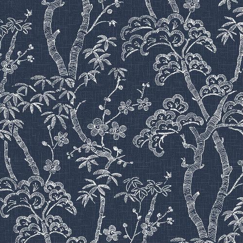 2764-24350 Brewster Wallcovering Mistral Bonsai Tree Wallpaper Navy
