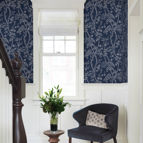 2764-24350 Brewster Wallcovering Mistral Bonsai Tree Wallpaper Room Setting
