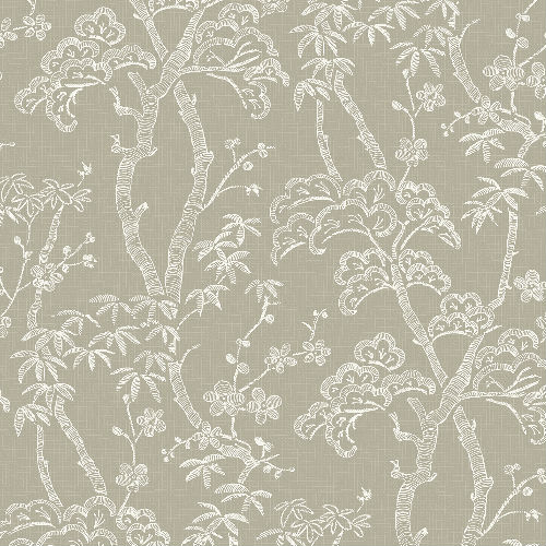 2764-24353 Brewster Wallcovering Mistral Bonsai Tree Wallpaper Tan