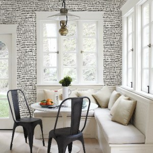 2764-24354 Brewster Wallcovering Mistral Runes Brushstroke Wallpaper Room Setting