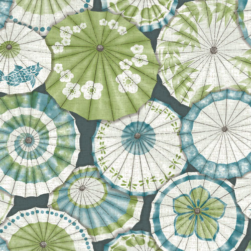 2764-24360 Brewster Wallcovering Mistral Mikado Parasol Wallpaper Teal