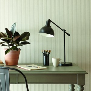ME1563 York Wallcoverings Joanna Gaines Magnolia Home 2 French Ticking Stripe Wallpaper Room Setting