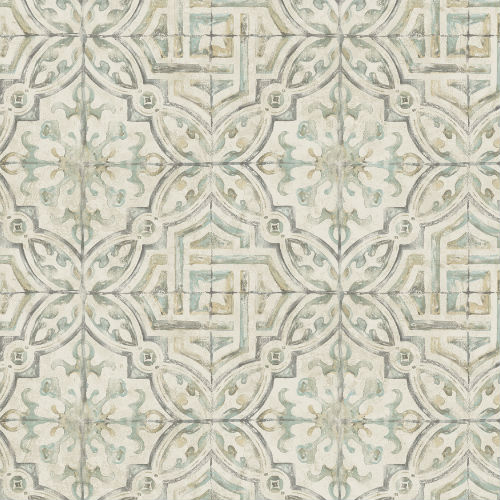 3117-12335 Brewster Wallcovering Chesapeake The Vineyar Sonoma Spanish Tile Wallpaper Olive