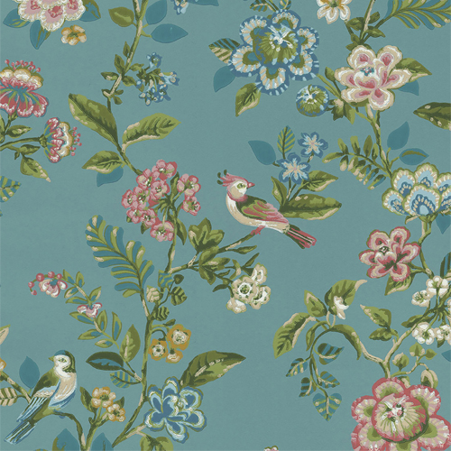 375062 Brewster Wallcovering Eijffinger Pip Studio Willem Painted Garden Wallpaper Teal