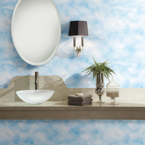 RMK10708WP Cloud Peel and Stick Wallpaper Bath Room Setting