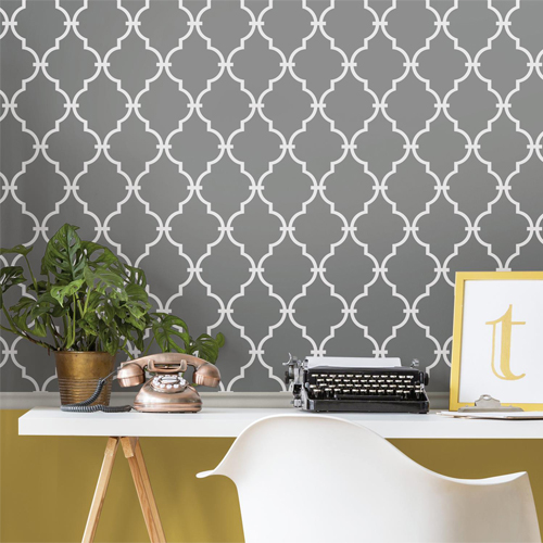 RMK11288WP York Wallcovering Roommates Modern Trellis Peel and Stick Wallpaper Grey Room Setting