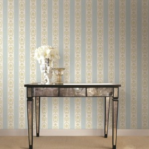 BM61312 Wallquest Wallcovering Balmoral Classic Moire Stripe Wallpaper Blue Room Setting